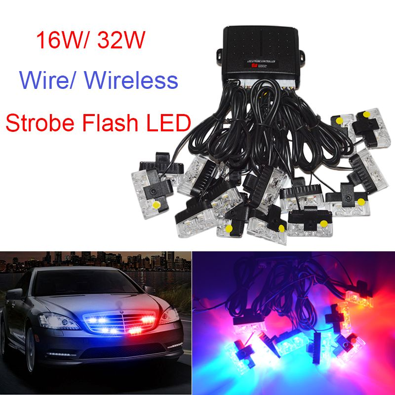 Wireless Remote led Ambulance Police light DC 12V Strobe Warning light for Car Truck Emergency Light Flashing Firemen Lights