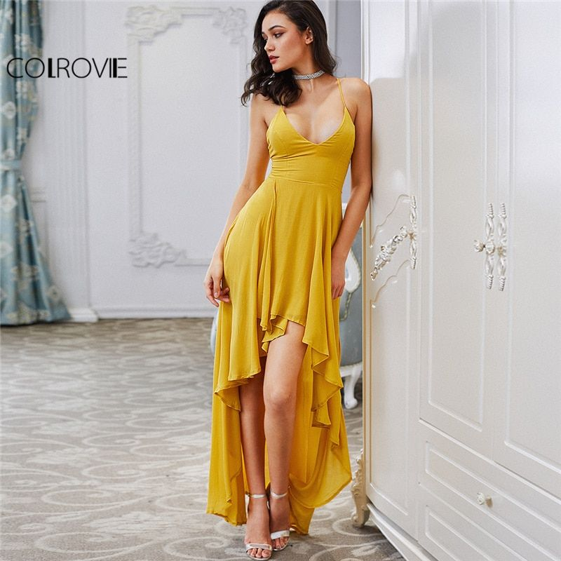 COLROVIE High Low Draped Party Dress Sexy Backless 2017 Women V Neck Yellow A Line Summer Dresses Cross Strappy Slip Maxi Dress