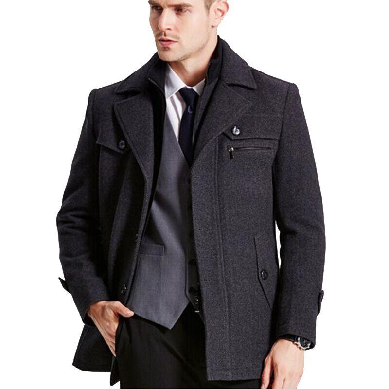 New mens winter wool  Coat Men Slim Fit Fashion Jackets Mens Casual Warm Outerwear Jacket Overcoat Pea Coat Plus Size XXXL 4XL