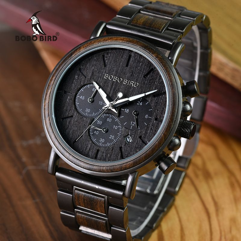 BOBO BIRD Luxury Wood Stainless Steel Men Watch Stylish Wooden Timepieces Chronograph Quartz Watches relogio masculino W-Q26
