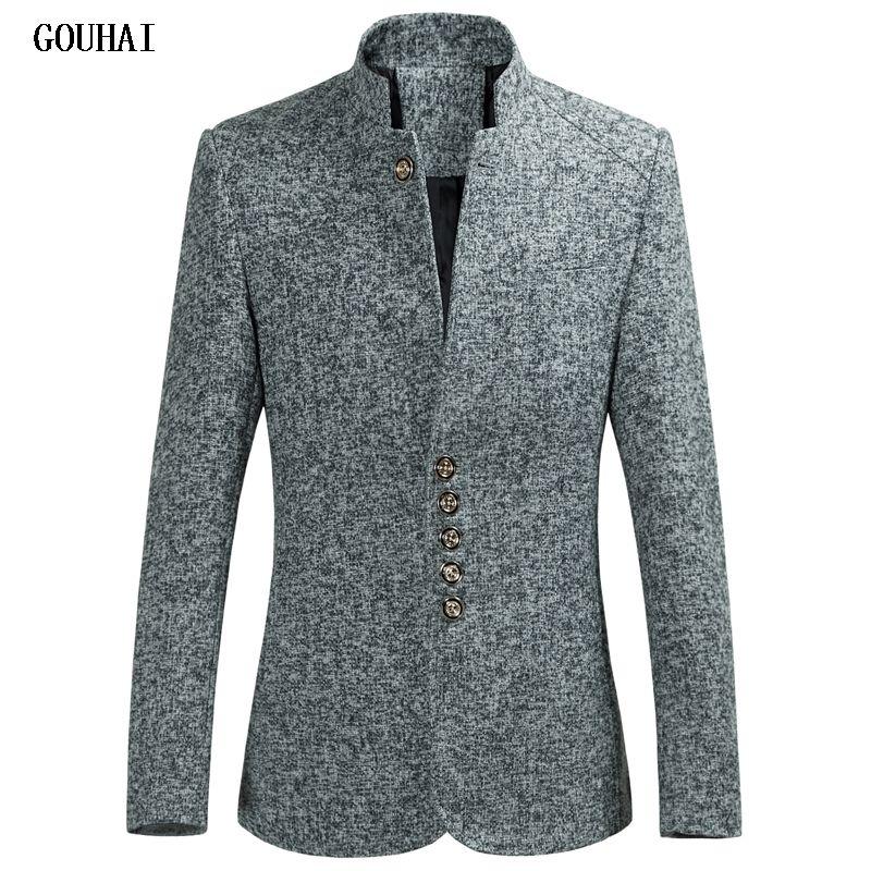 2019 Nouveau Style qualité supérieure Blazer Hommes col montant grande taille Costume Masculin coupe étroite homme Blazer Masculino M-4XL 5XL 6XL