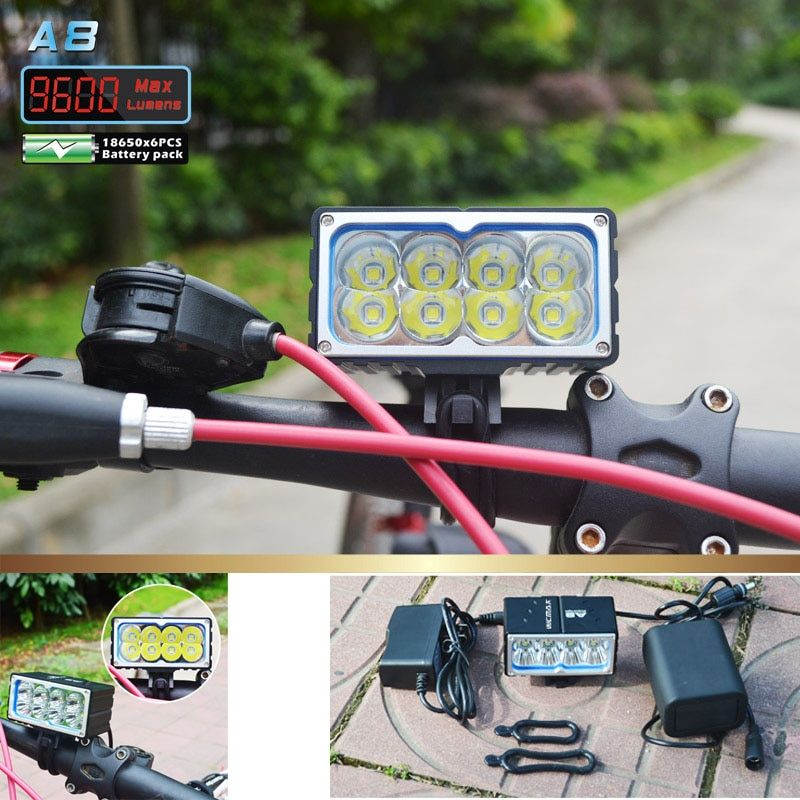 8 X XM-L2 LED A8 Bicycle Bike Light 9600LM LED 3 Mode headLamp with 10000mAh Waterproof Battery Pack and charger