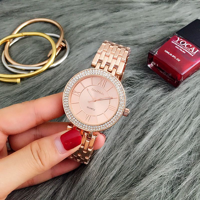 CONTENA montre en or Rose femmes montres de luxe Bracelet femmes montres strass dames montre horloge montre femme reloj mujer