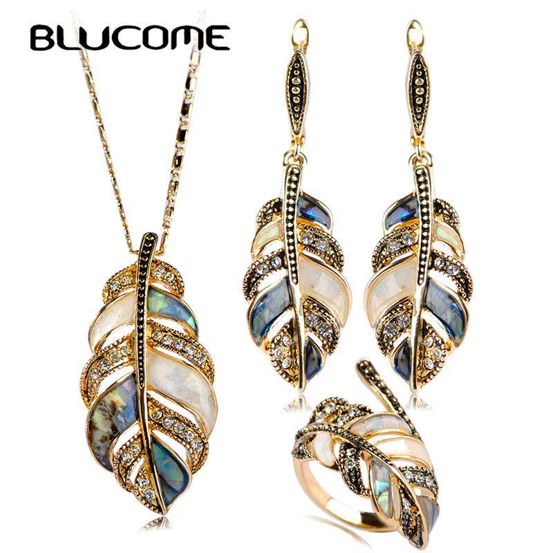 Blucome Nacre Bijoux Ensembles Pour Les Femmes Mix Couleur Shell Strass Vintage Fleur Feuilles Balancent Boucle D'oreille Collier Anneau Ensemble