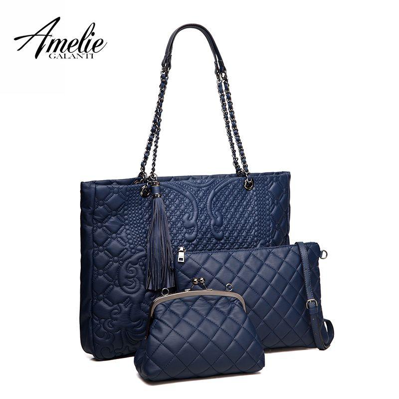 AMELIE GANANTI Frauen Composite Taschen EIN set von Drei Multifunktionale Taschen von Künstliche Leder Schulter Taschen Umhängetaschen