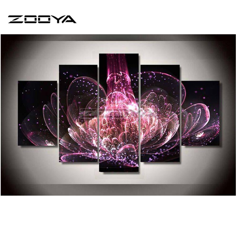 ZOOYA 5 PCS Ensembles Rouge Fleurs 3d Diamant Peinture Carré Bricolage Forage Au Diamant Diamant Broderie au point de croix Décoration de La Maison BK151