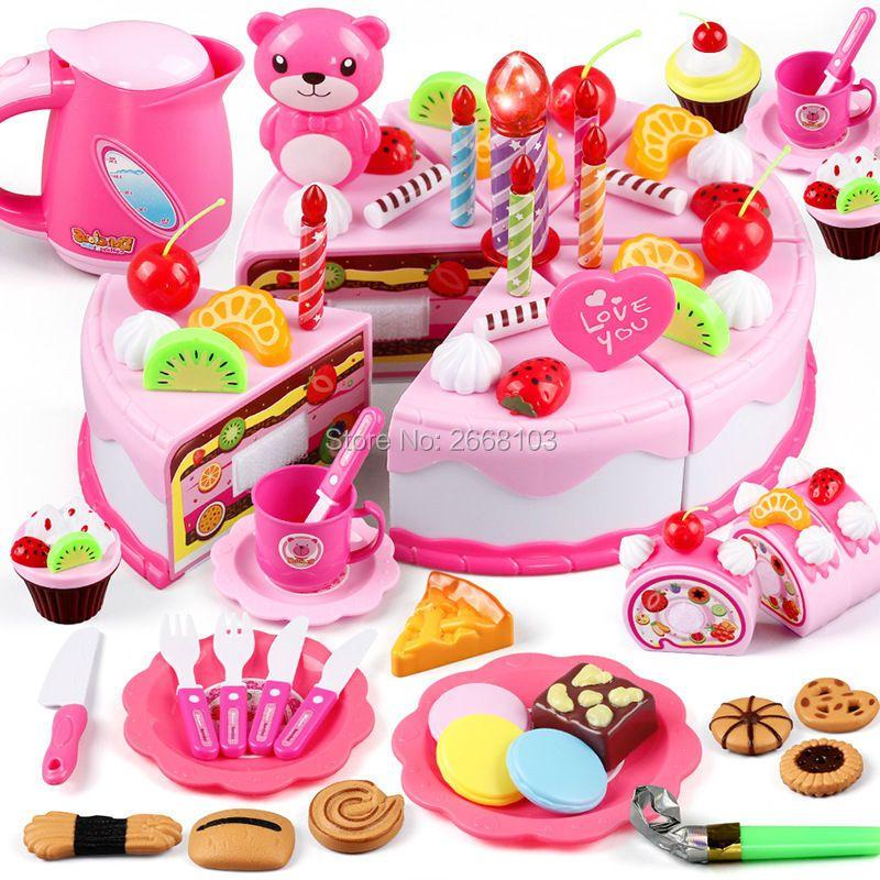 Bricolage 37-80 pièces gâteau jouet alimentaire cuisine semblant jouer coupe fruits anniversaire jouets Cocina De Juguete rose bleu pour enfant cadeau éducatif