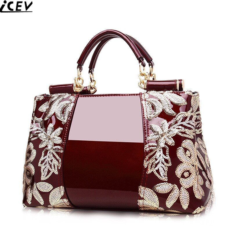 2018 new embroidery luxury handbag designer high quality patent leather ladies <font><b>office</b></font> bags handbags women famous brands