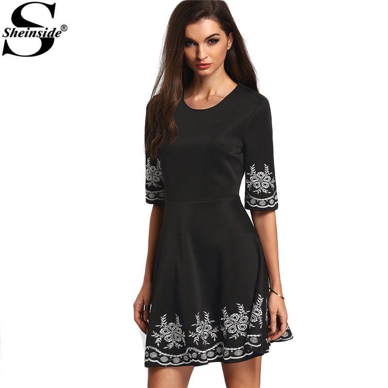 Sheinside a-line vestidos boho del estilo del verano mujeres de la vendimia 2016 nuevas señoras de la llegada negro media manga bordada flare dress