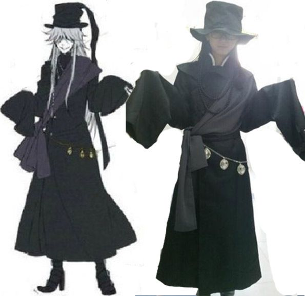 Nouveau Anime majordome noir kuroshisuji croque-mort Cosplay Costume ensemble complet