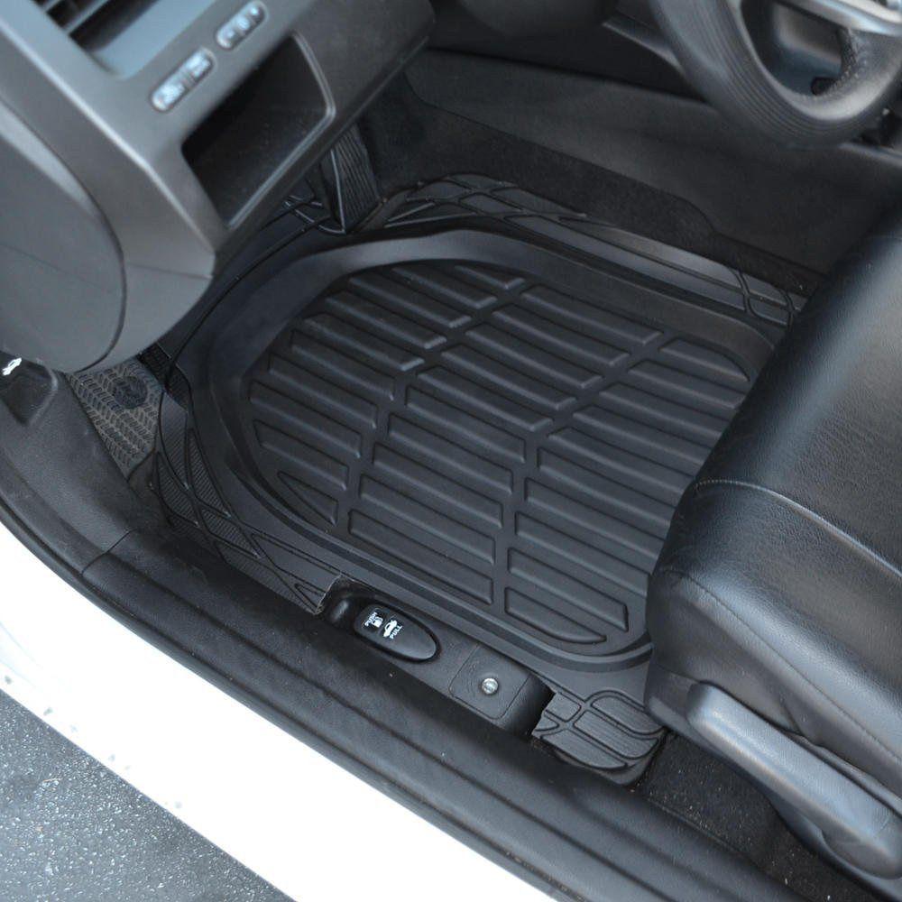 Tyre Line Rubber Car Floor Mats Universal Fit Driver & Passenger Seat Ridged Heavy Duty Rubber Floor Car Mats Black
