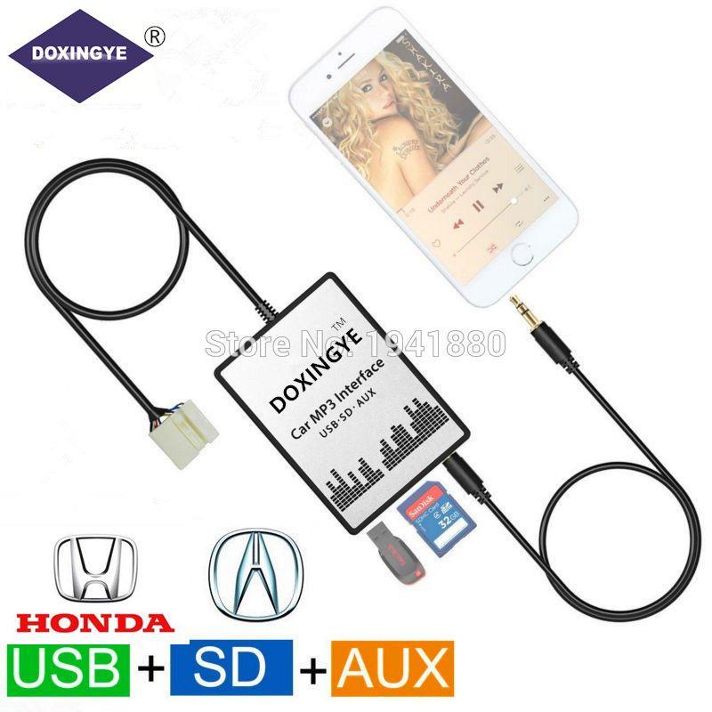 DOXINGYE USB SD AUX Auto MP3 Musik Radio Digital CD Wechsler Adapte Für Honda Accord Civic CRV Acura CSX MDX RDX 6 + 8PIN Interface