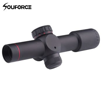 4.5x20E Compact Hunting Rifle Scope Red Illuminated Glass Etched Reticle Riflescope With Flip-open Lens Caps and Rings