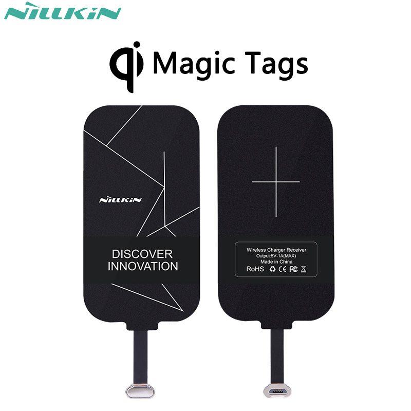 Nillkin magique tags qi sans fil de charge récepteur micro usb/type c adaptateur pour iphone 5s se 6 6 s 7 plus mi5 mi5s plus mate 9