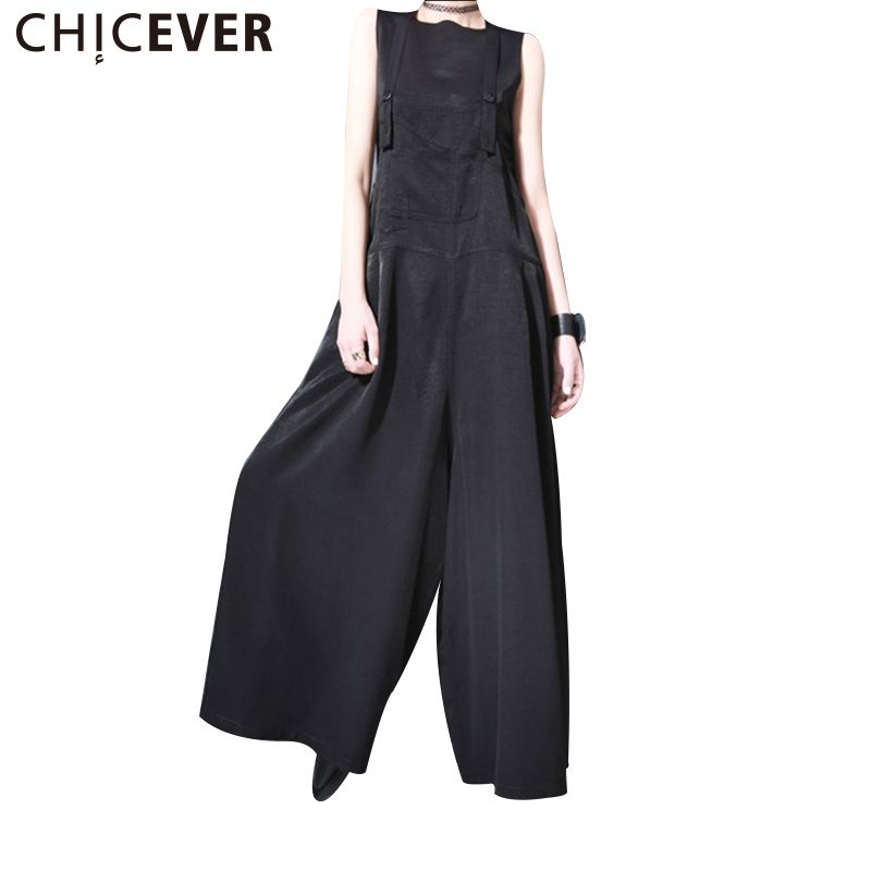 CHICEVER 2017 Summer Sleeveless Strap Trousers For Women Pant Jumpsuits Loose Wide Leg Ankle Length Female Pants Clothes Fashion