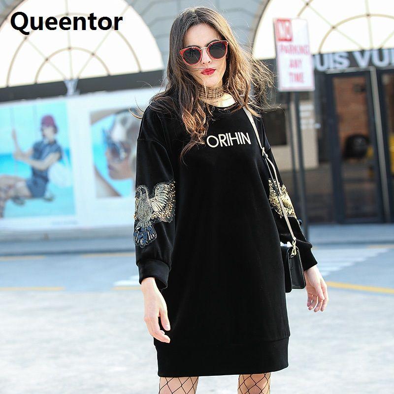 Queentor Аутентичные 2017 бренд осень-зима бархат Повседневное модные черные животных свободные Толстовки Для женщин оптовая продажа