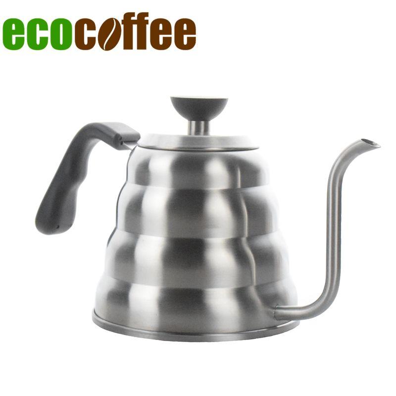 Ecocoffee 1.2l/40 oz Verser Sur Café Thé Bouilloire Col De Cygne Pot Pour Poêle V60 Percolateur 304 Théière En Acier Inoxydable approvisionné Vente