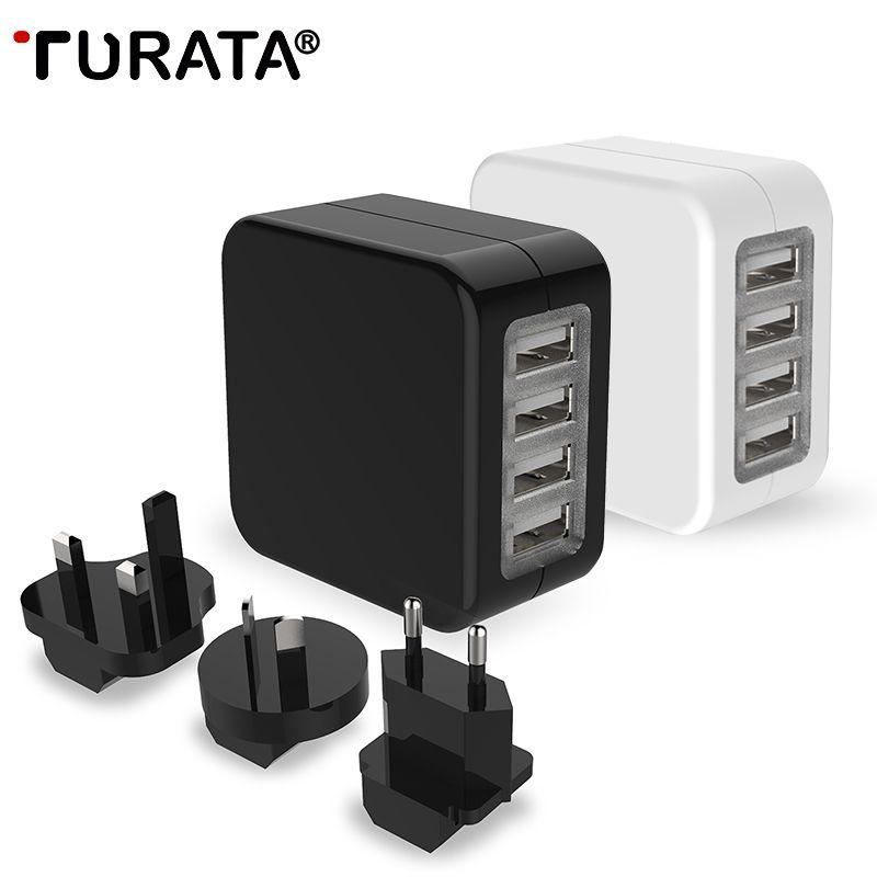 Adaptateur de voyage Turata US EU UK prises AU 4 Ports USB chargeur universel convertisseur mural prise pour iPhone Samsung avec sac à fermeture éclair