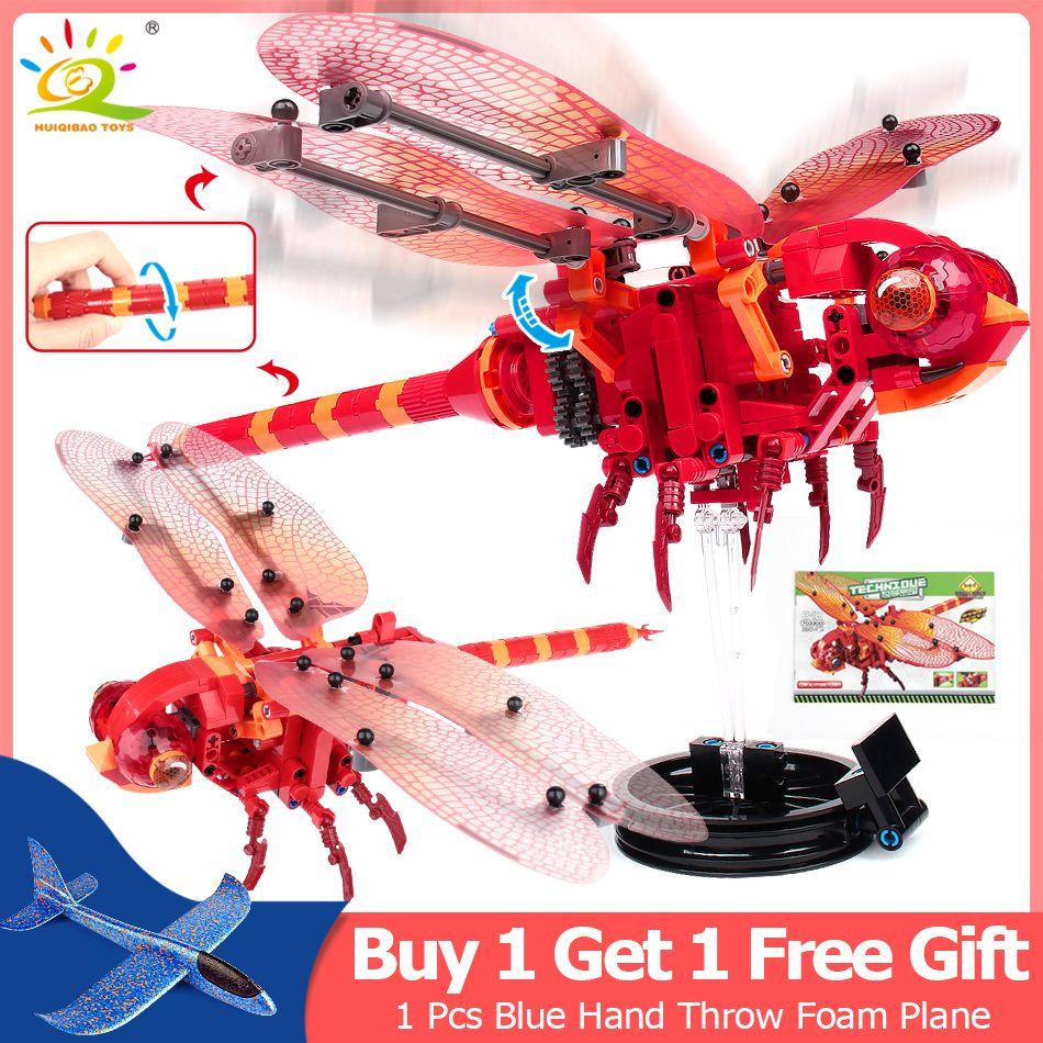 330 pièces Simulé insectes bricolage Rouge Libellule blocs de construction Compatible Avec Légèreté Technique briques enfants jouets éducatifs Pour enfants
