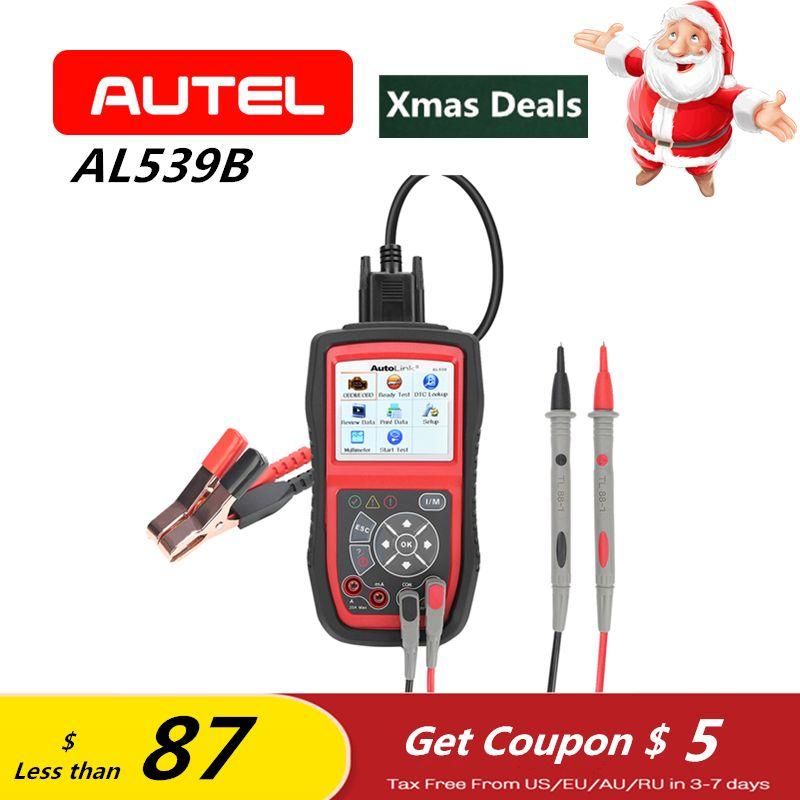 Autel Autolink AL539B OBD2 Scanner Electrical Diagnostic Tool OBD2 Battery Test Code Reader Automotive PK AL539 as ELM327 Gift