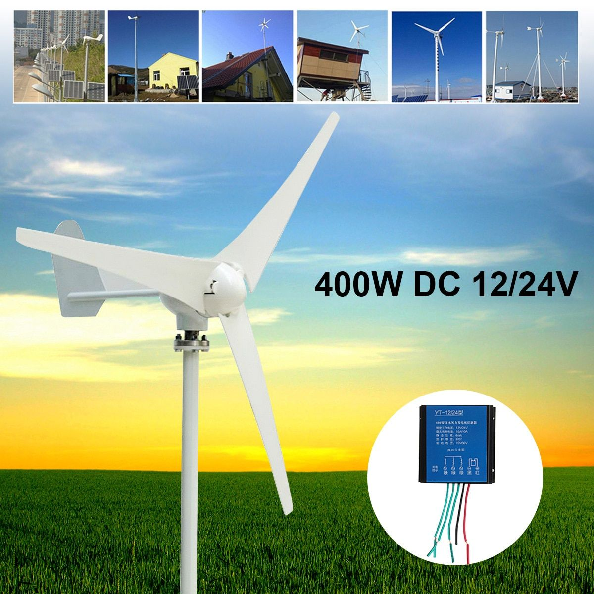 Max 500W Wind Turbine Generator DC 12V 24V 3/5 Blade Power Supply + Charge Controller