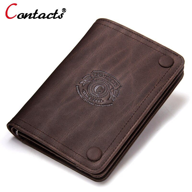 CONTACT'S 2018 Men Wallet genuine leather men wallet Crazy Horse Cowhide Leather short Male Clutch Coin Purse Card Holder wallet