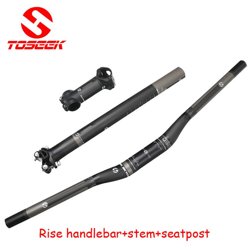 Full <font><b>Carbon</b></font> Fiber Bicycle Handlebar Set 3k Flat Riser Handlebar +stem +seatpost Mtb Road Mountain Bike Bicicleta Bicycle Parts