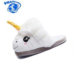 HUANQIU Rumah Kartun Unicorn Rakasa Sandal Kapas Hangat Sandal Mewah Lembut Lucu Hewan Untuk Dewasa Up \ Lantai Sepatu Indoor ST225