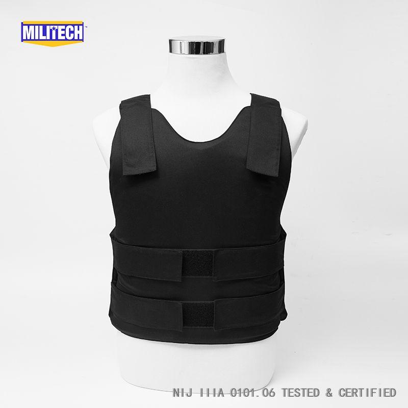 Militech Schwarz NIJ IIIA 3A und Ebene 2 Stab Concealable Twaron Aramid Kugelsichere Weste Covert Ballistic Kugelsichere Weste