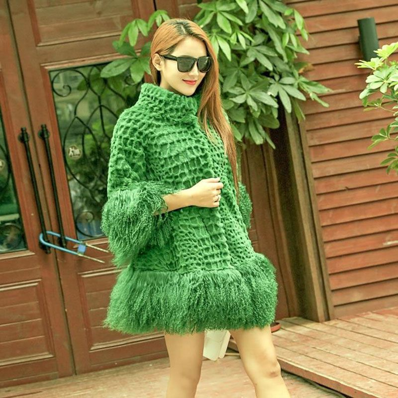 Natural Mongolia Sheep Fur and Rabbit Fur Patchwork Coats Outerwear Women Loose Fit Winter Whole Skin Real Rabbit Fur Jackets