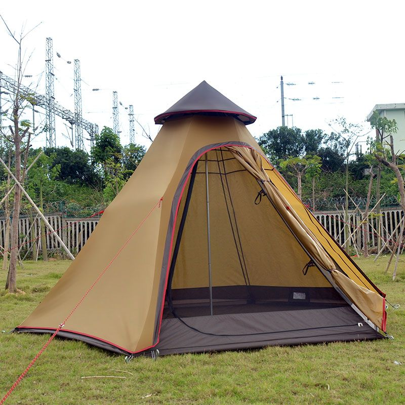 High quality ultralarge 3-5person double layer indian mongolia hexagonal camping family tent