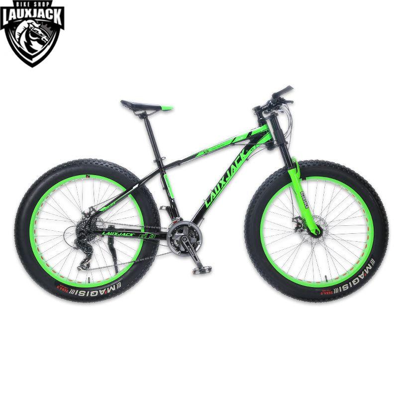 LAUXJACK Mountainbike Aluminium Rahmen 24 Geschwindigkeit Shimano Mechanische Bremse Fett Bike 26