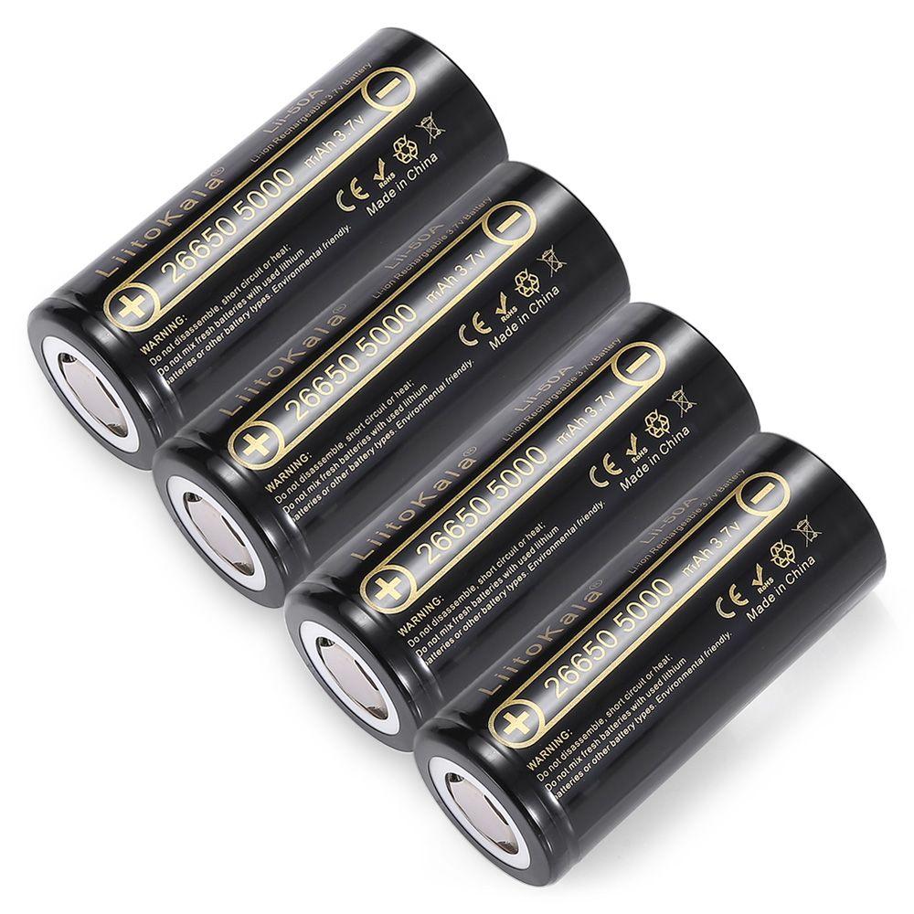 LiitoKala lii-50A 26650 5000mah lithium battery 3.7V 5000mAh 26650 rechargeable battery 26650-50A suitable for flashligh NEW
