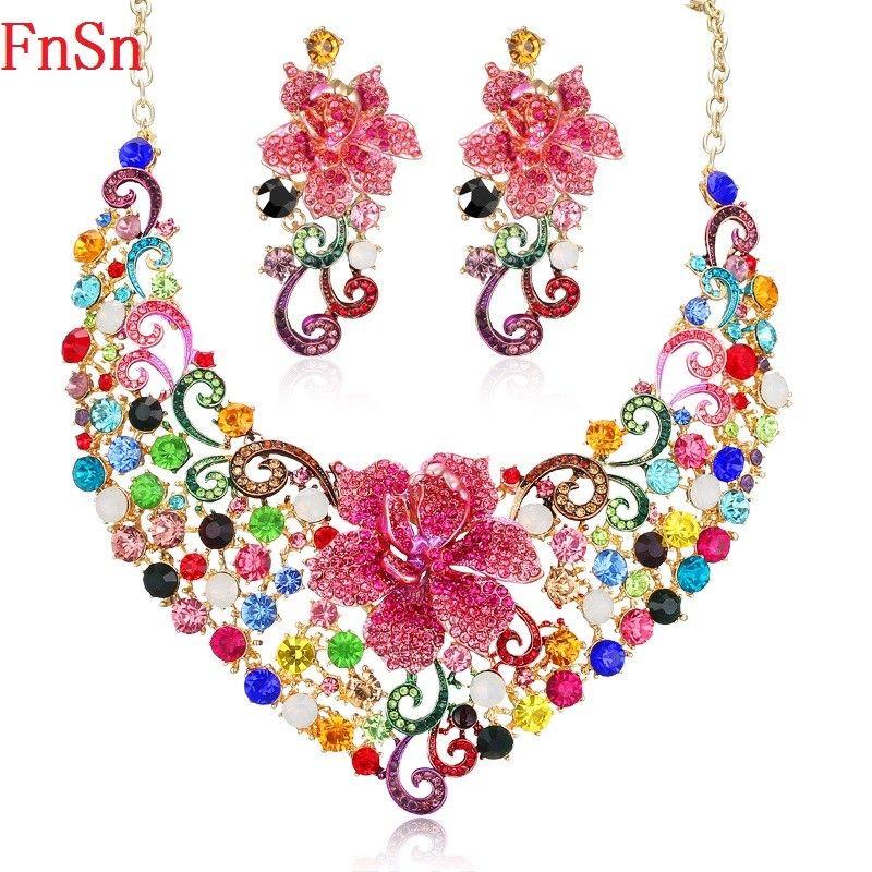 FnSn Nueva Joyería De la Manera Colorida de Cristal Collares Pendientes Set Pink Wedding Party flor Del Pendiente Del Collar de Regalo de Las Mujeres S133