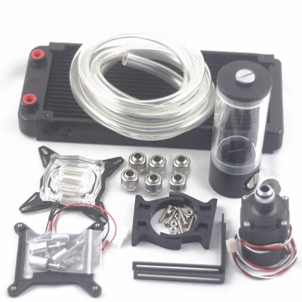 Computer wasserkühlung kühler OD10mm 240 p Auminum mit 110 140 190 240mm wassertank sc600B pumpe wasserkühlung kits set
