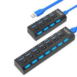 Mini USB HUB 3,0 Super velocidad 5 Gbps 4/7 puertos USB 3,0 HUB con adaptador de corriente externo para PC Accesorios