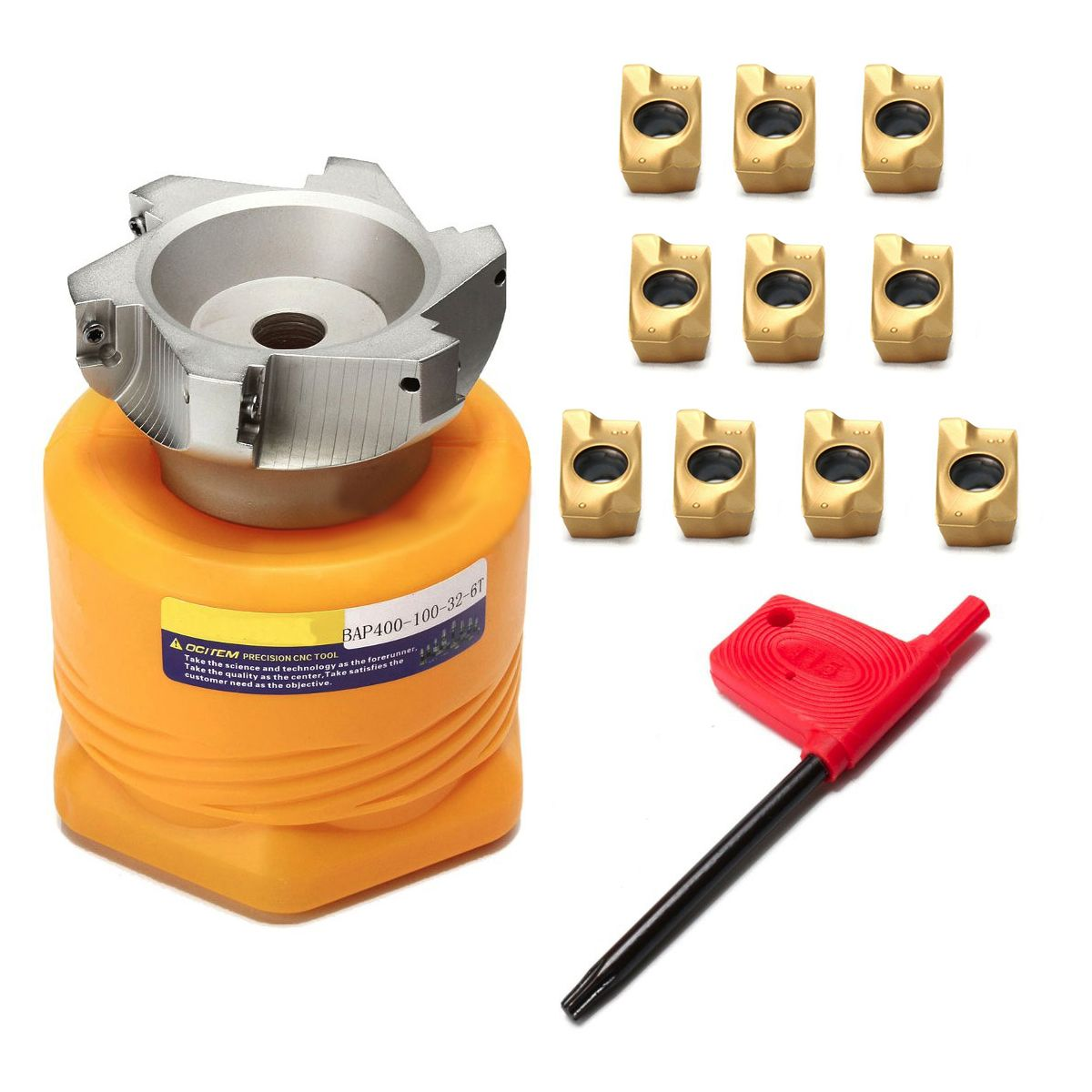 1pc BAP 400R-100-32-6F Face Milling Cutter Lathe Tool +10pcs Carbide Inserts with T5 Wrench For Metal Heavy Cutting
