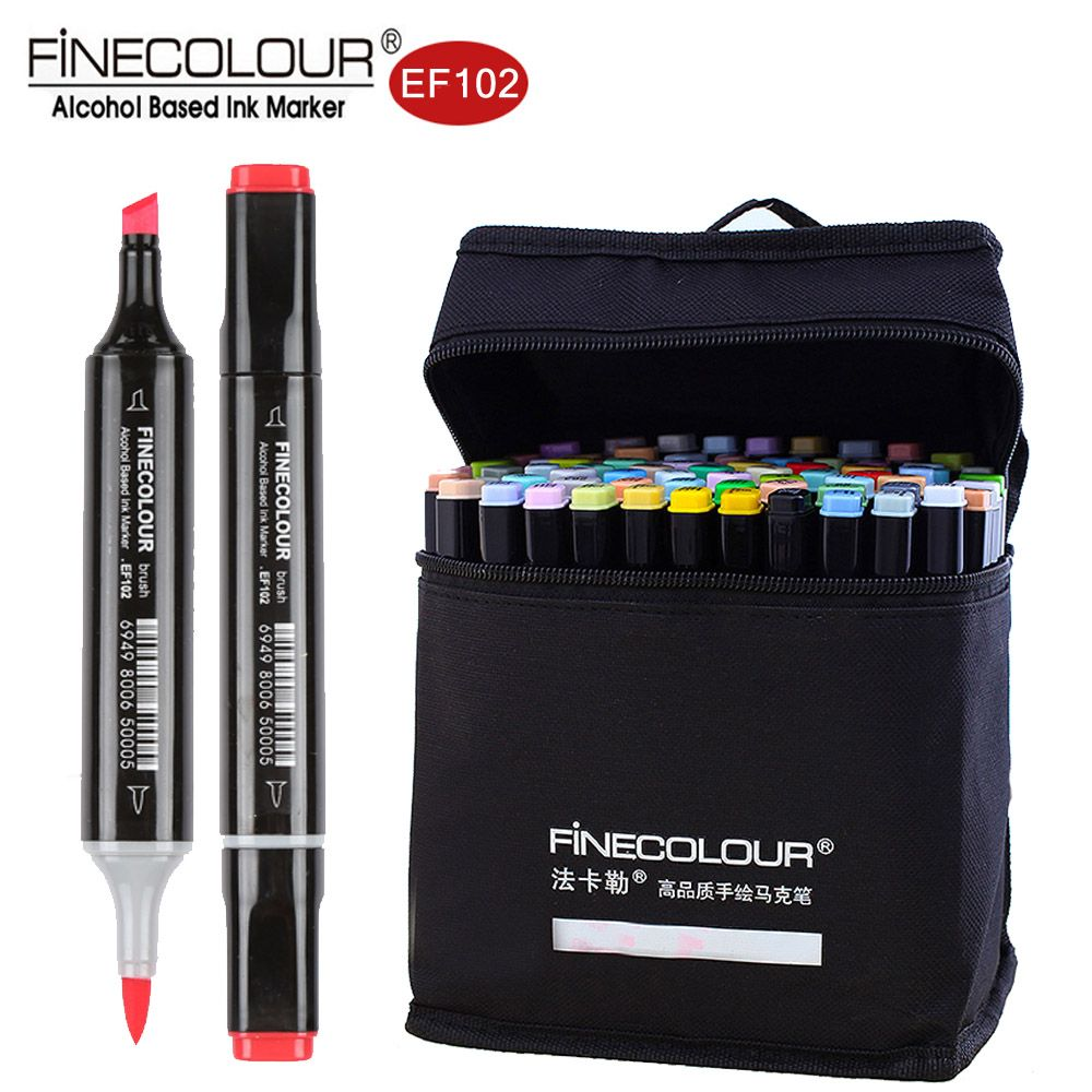 Finecolour EF102 Double-Ended Brush Art Markers 36/48/60/72 Soft Felt Tip Pen Draw Architecture/Clothes/Industry/Interior Design
