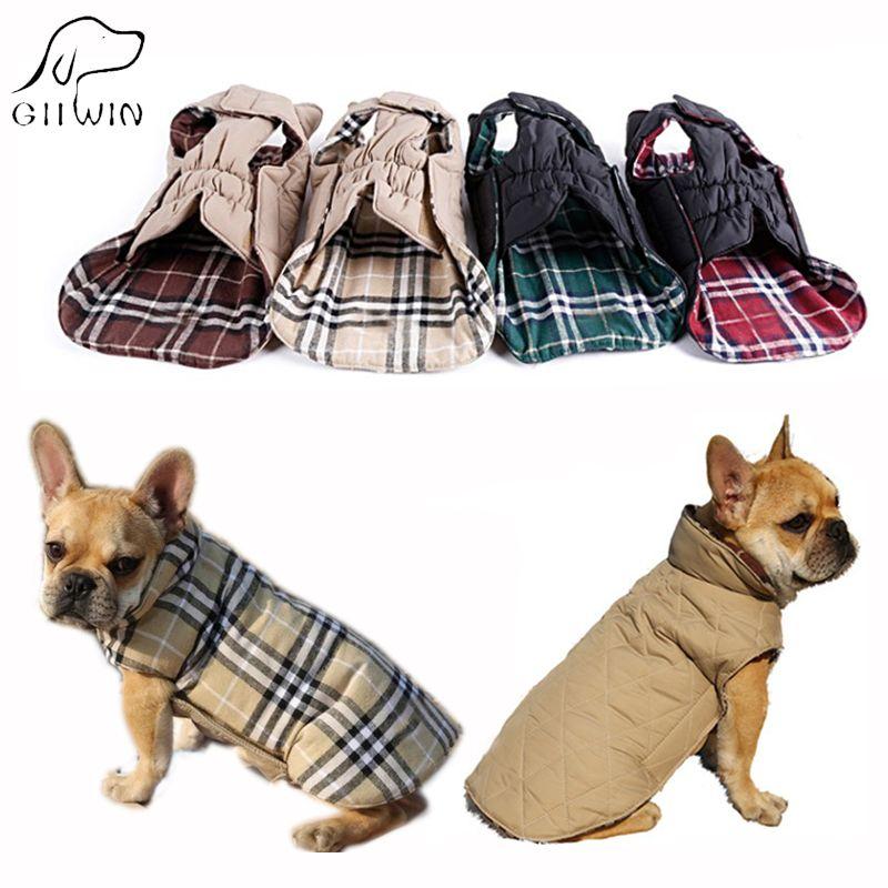Reversible Hund Jacke Wasserdichte Coat Warm Plaid Winter Haustier-produkte Hund Kleidung Weihnachten 100% Baumwolle für Chihuahua KP0001