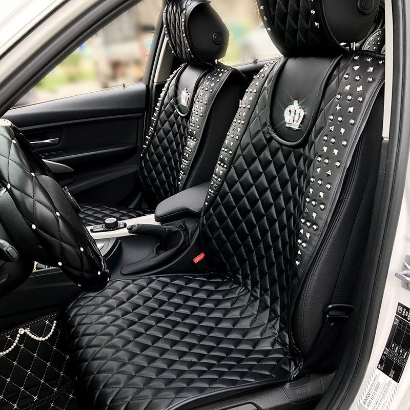 Coole Punk Stil Nieten Crown Leder Auto Sitz Covers Universal Auto Innen Sitzkissen Zubehör Volle Sets Auto Sitz Pads