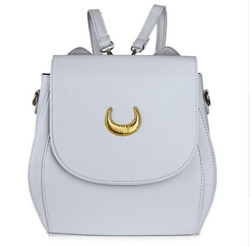 Korean Women Backpack PU Leather Sailor Moon Backpack Multifunction Black White Luna Cat Ladies Backpack Girls Travel Back Pack