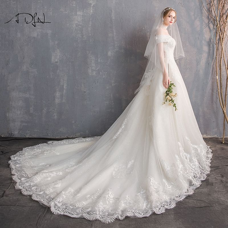 ADLN Luxury Long Train Wedding Dress Off-the-shoulder Appliqued A-line Lace Bridal Gown Customized Vestidos de Casamento