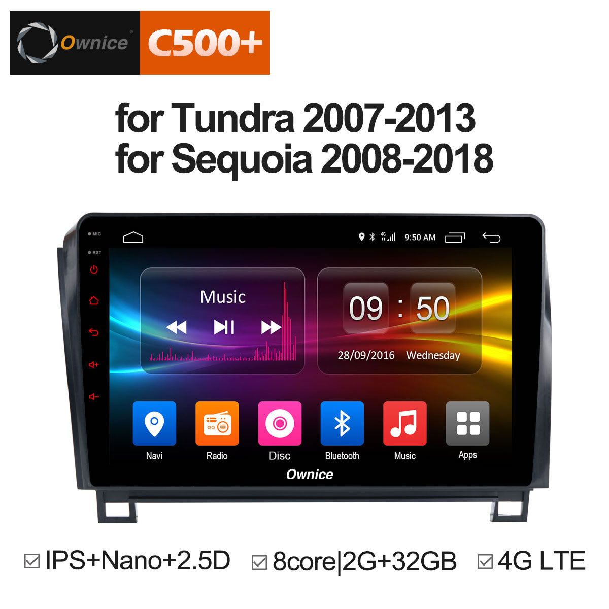 Ownice C500+ G10 Android 8.1 8 Core Car DVD GPS For Toyota Tundra 2007 - 2013 Sequoia 2008 - 2018 Stereo Radio Audio 4G OBD DVR