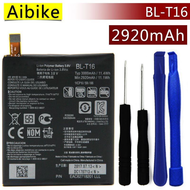 BL-T16 Aibike Nueva batería original del teléfono móvil Para LG G flex 2 Vu 4 Vu4 H950 H955 H959 Batería 2920 mAh Reemplazo Real