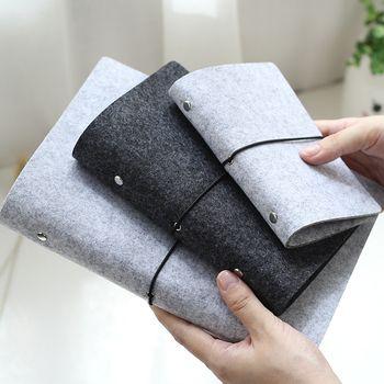 JIANWU Feutre tissu extérieur note livre feuilles mobiles noyau interne A6, A7 cahier journal A5 plan liant fournitures de bureau reliure à anneaux