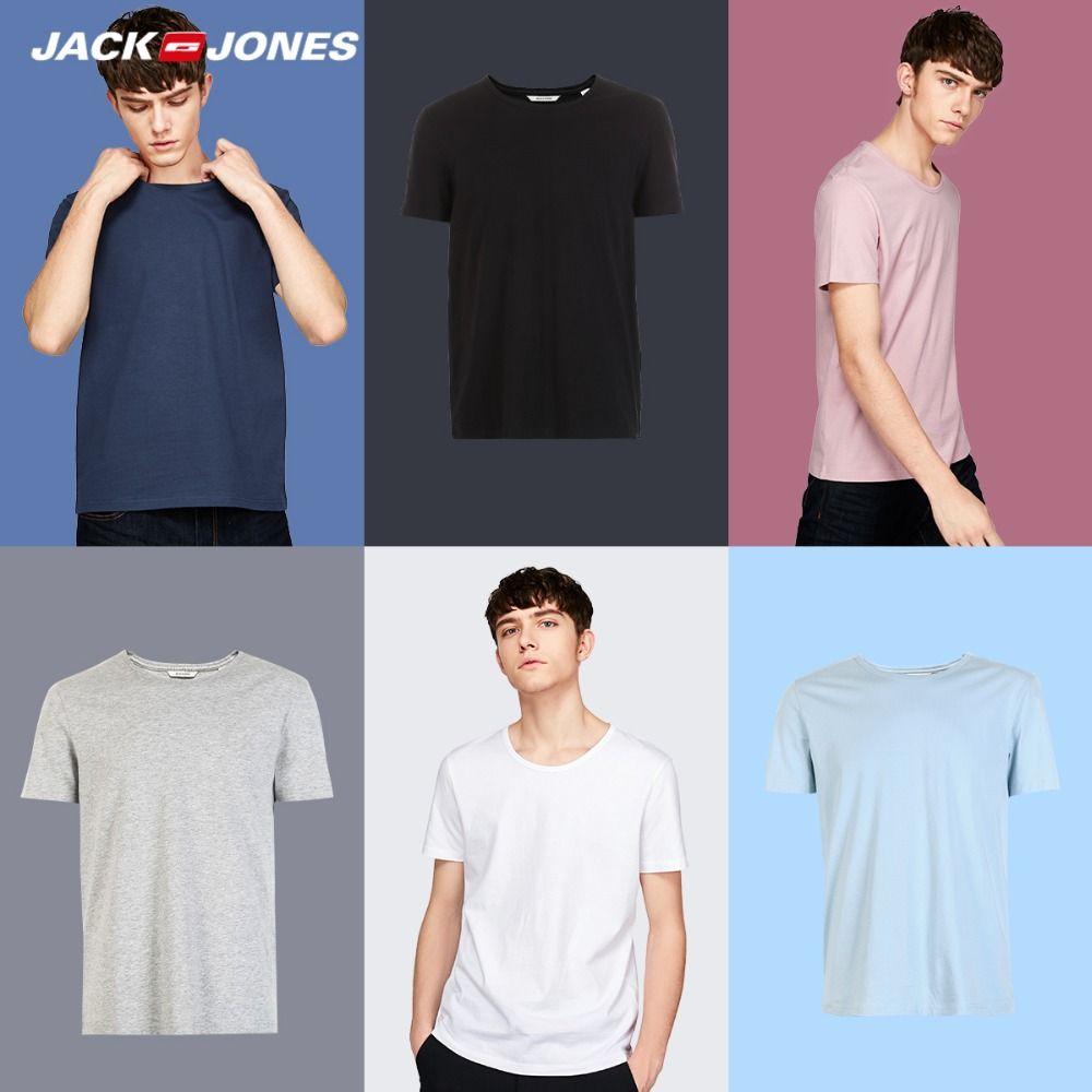 JackJones 2018 Marque Nouveaux Hommes de Coton T-Shirt Solide Couleurs T-Shirt Top Mode T-Shirt hommes de Tee Plus Couleurs 3XL 2181t4517