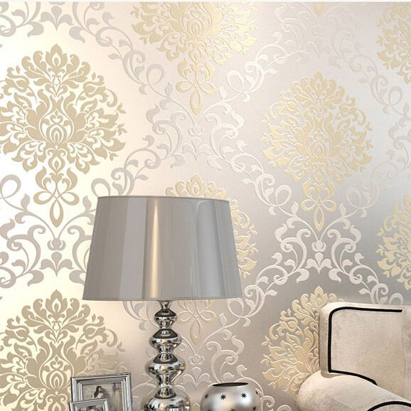 L'europe damassé classique designs glitter papier peint au mur dans la chambre papel de parede 3d moderno