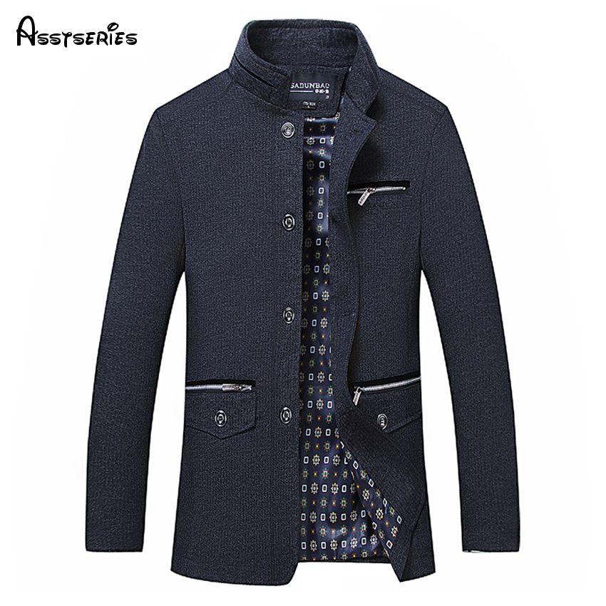 Hohe Qualität männer Wolle Blends Einreiher Mantel Designer Mode Stehen Kragen Business Casual Wollmantel Für Männer 50wy