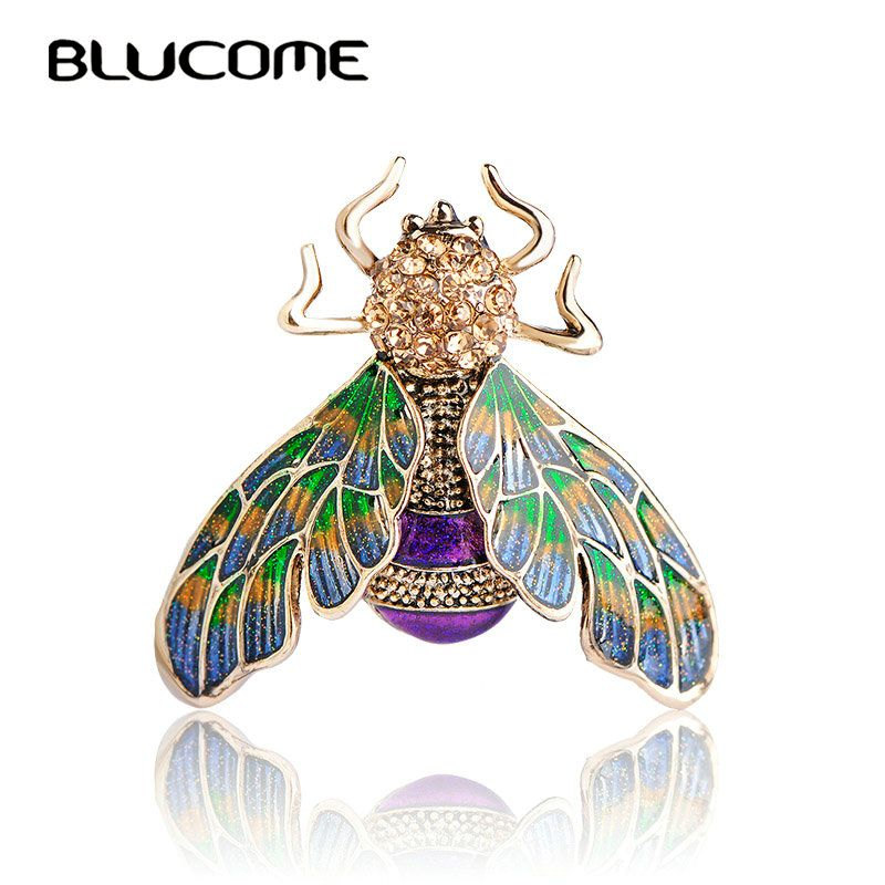 Blucome Hermoso Verde Púrpura Esmalte Insectos Abeja Broche de Cristal Broches de Aleación de Metal de color Oro Para Hombro Suéter Bufanda Pins