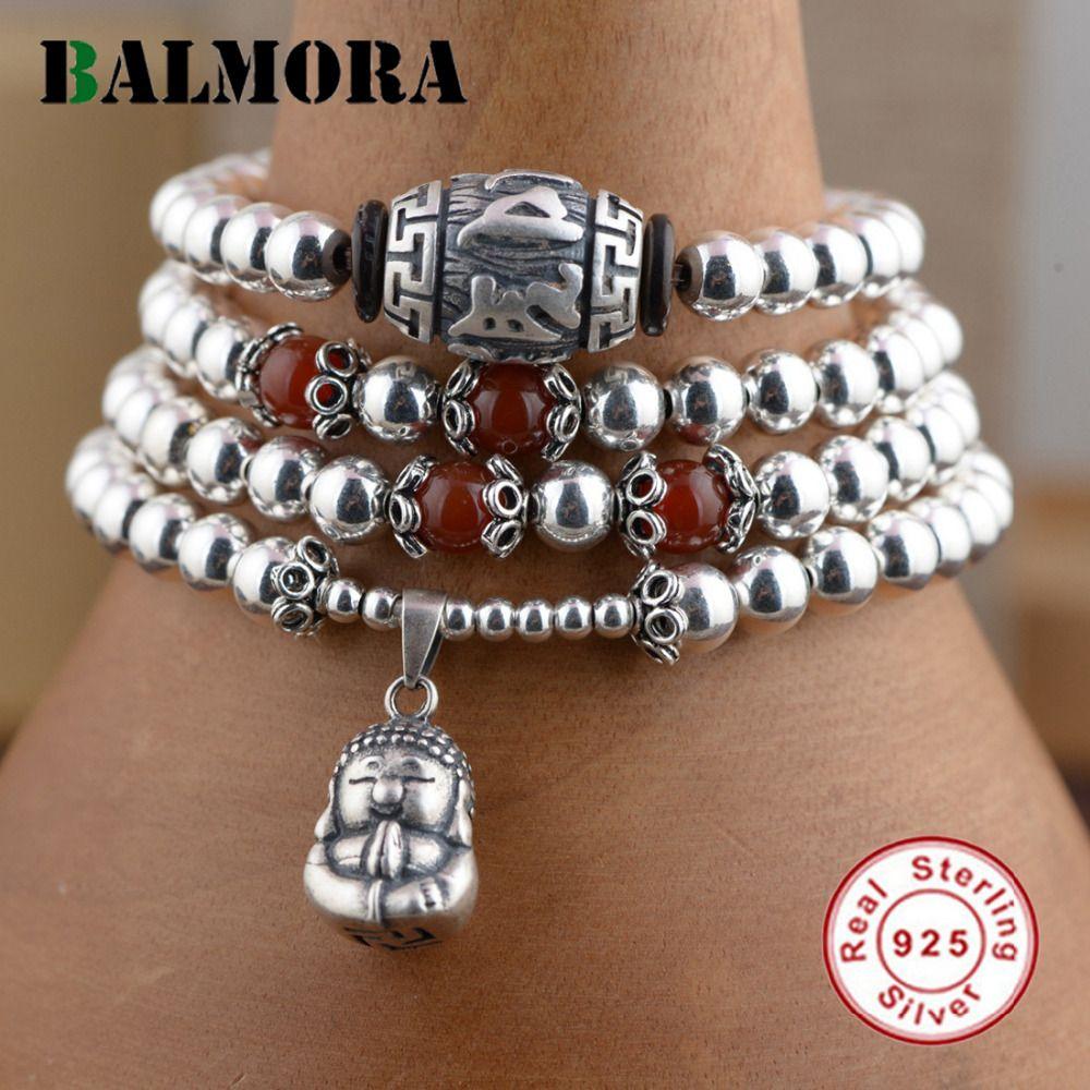 BALMORA Véritable 925 En Argent Sterling Bijoux Rouge et Argent Perles Bouddha Bracelets pour Femmes Cadeaux Environ 70 cm Long Esposas WBH0079
